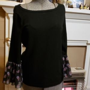 New York & Co Black with Paisley Sleeve blouse